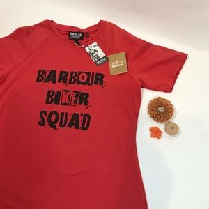 BARBOUR NWT Biker Squad Red T-Shirt